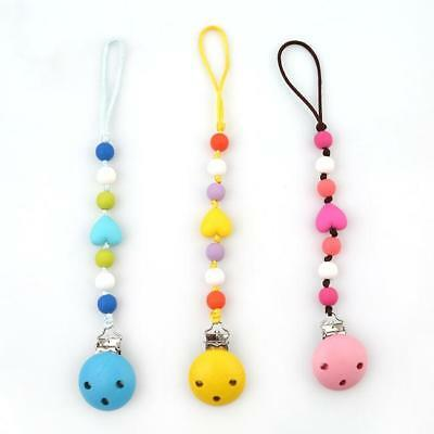 Infant Baby Cute Dummy Pacifier Soother Nipple Shield Wooden Chain Clip Holder C