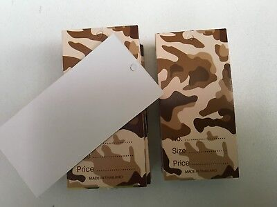 Garment swing tags.camouflage print. With hole.7 x 3.5cm.Blank on back.Unique.