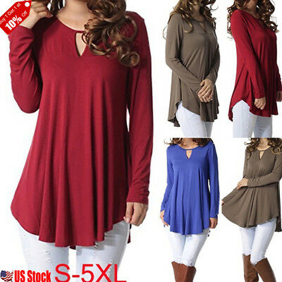 Womens Long Sleeve Basic T Shirt Blouse Ladies Casual Loose Plain Tunic Hem Tops