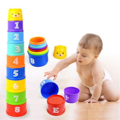 9PCS Early Education Baby Toys  Figures Letters Folding Stack Cup Tower US