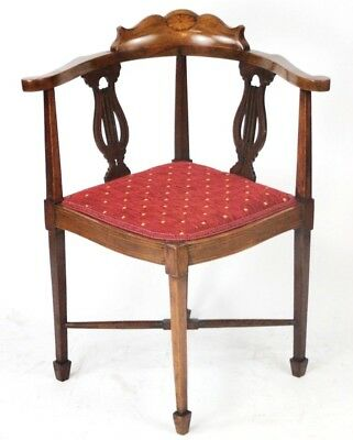 Antique Inlaid Walnut Corner Chair - FREE Shipping [PL4554]
