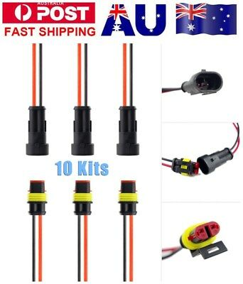 10Pair 2Pin Style Automotive Automatic Waterproof Connector And Plug Socket Kit