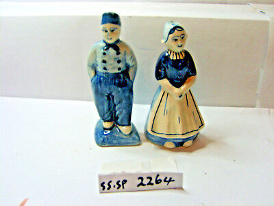 blue  and white  man and woman  salt and pepper shakers