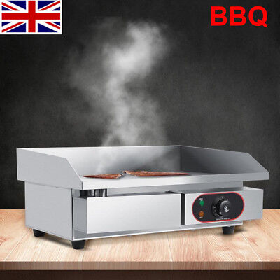 3KW Electric Griddle Large Hotplate Chip Fryer Commercial Grill Bacon Meet Fryer