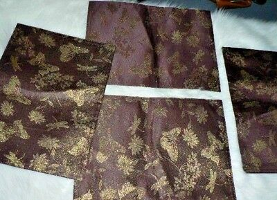 4 Stunning New Damask Place Mats Ruby Red Gold Butterfly Designer Kitchen Decor