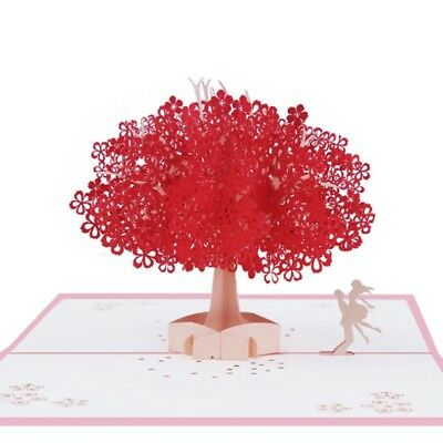 3D Pop Up Tree Couple Greeting Cards Happy Birthday Lover Valentines Anniversary