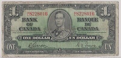 (N15-52) 1937 Canada one dollar KGVI bank note (BA)