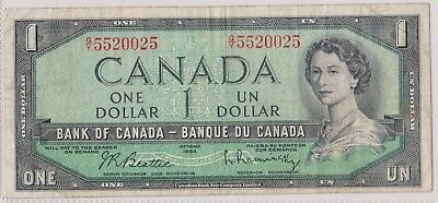 (N15-51) 1961 Canada one dollar QEII bank note (AZ)