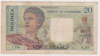 (N15-70) 1930-40 French NOUMEA 20 franks bank note (BS)
