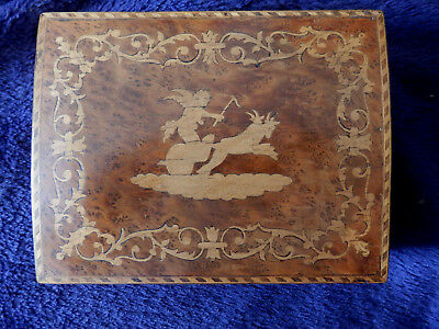 Vintage inlaid Naples? playing card box with cherub riding .chariot
