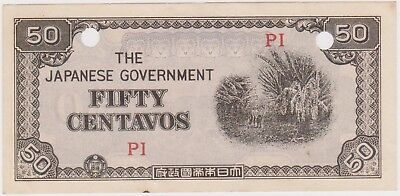 (N15-58) 1940s Japanese invasion money 50 CENTAVOS bank note (BG)