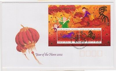 (K89-96) 2002 Christmas Island FDC $1.80 M/S year of the horse (DA)