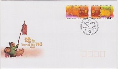 (K89-92) 2007 Christmas Island FDC $1.95 year of the pig (CW)
