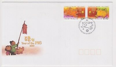 (K89-93) 2007 Christmas Island FDC $1.95 year of the pig (CX)