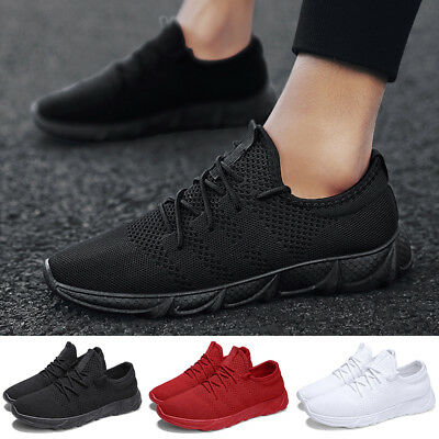 UK Mens Running Trainers Lace Up Flat Comfy Fitness Gym Sports Shoes Sneake Size