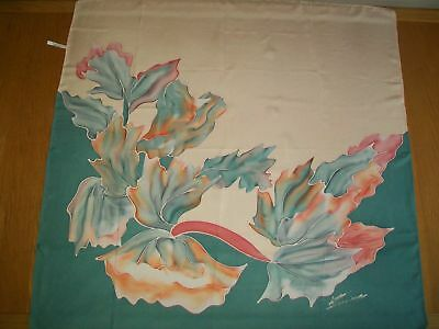 Large Vintage Silk Scarf Hand Painted Silk Headscarf French Abstract Floral
