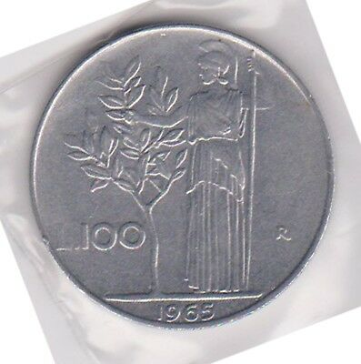 (H88-44) 1965 Italy 100L coin (AS)