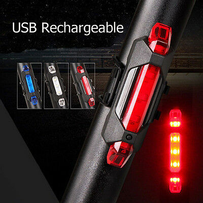 5 LED USB Rechargeable Bike Tail Light Bicycle Cycling Warning Rear Lamp DE