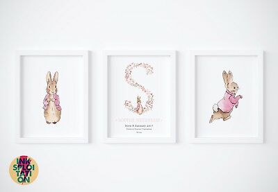 SET Personalised Peter Rabbit Gift Nursery Christening Baby Beatrix Potter Print