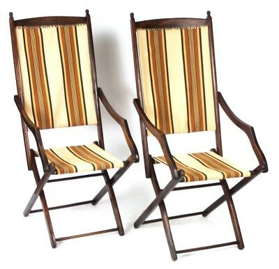 A Pair of Antique Mahogany Folding Campaign Chair - Free Shipping [PL4555]