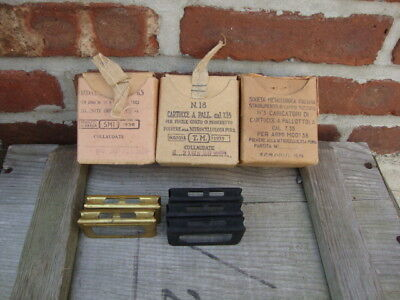 Original Lot Of Five Italian Carcano Ww2 Carcano Stripper Clips Boxes 7.35 1939