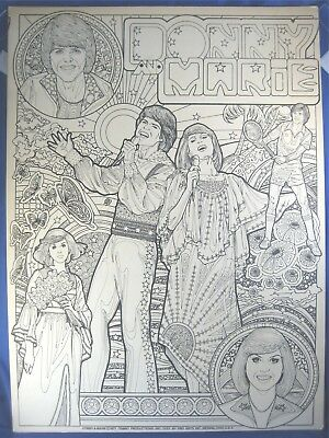 Vintage 1977 Donny and Marie Osmond Coloring Poster Unused Osbro Productions