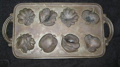 Vintage John Wright Cast Iron Muffin Pan  Fruit And Vegetables