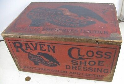 Antique 1880's Store Display Dovetailed Box Button's Raven Gloss Shoe Dressing
