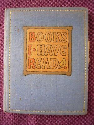 "Vintage Notebook, "" Books I have read "" 1940's Embroidered blue material cover."