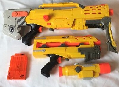 Lot Of 2 Nerf N-Strike Long shot CS-6 w/ Front Barrel Attachment & 2 Dart Mags