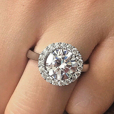 3 Ct Round Cut Diamond Solitaire Engagement Ring 14K White Gold Enhanced
