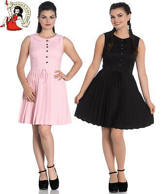 HELL BUNNY JOSEPHINE Mini DRESS pleated BLACK PINK XS-4XL