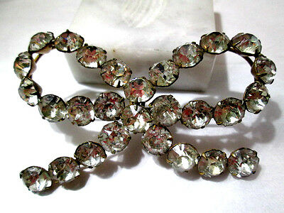 Bow Pin Open Vintage Older 1950's Brass And Large Rhinstones Prong Set Stones