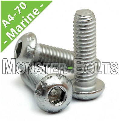 M8 - 1.25  Marine Grade Stainless Steel Button Head Socket Caps Screws A4 / 316
