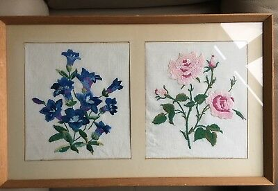 Vintage Mid Century Silk Flower Rose Gentian Framed Embroidery Tapestry Picture