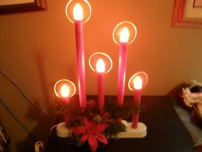 Vintage  5 Light Red Drip Christmas Candle  Candolier with Halos