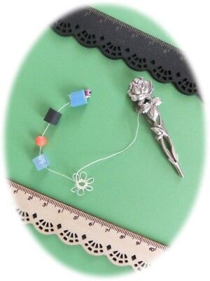 """Old French Style Ornate """"ROSES & LEAVES"""" Tatting Shuttle in Silver Drop Shaped"""