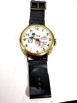 Vintage Mickey Mouse animated wall clock wrist watch black gold working