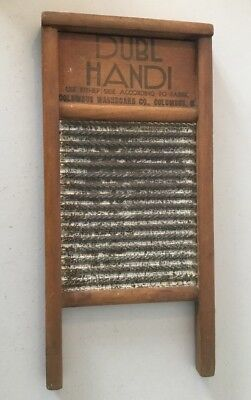 """COLUMBUS OHIO COLLECTABLE 1920s . SMALL WASHBOARD"""" DUBL HANDI 8 1/2 X 18 IN"""