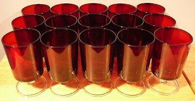 15 Ruby Red  CRISTAL D'ARQUES LUMINARC Cavalier Water Glasses 10 oz