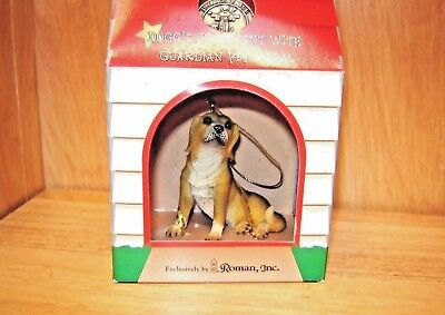 Beagle Figurine/Ornament-by Roman-2000-/box & Guardian Pet Medal-Hot Diggity Dog