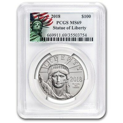 2018 1 oz Platinum American Eagle MS-69 PCGS (Liberty Label)