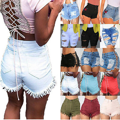 Womens Ladies Vintage High Waist Stretch Ripped Denim Jeans Shorts Hotpants
