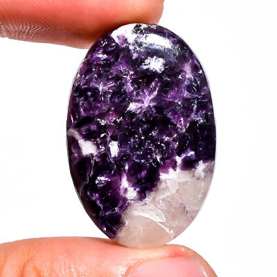 35.45 Ct. Natural Blue Lepidolite Oval Cabochon Loose Gemstone 31X21X6 Mm