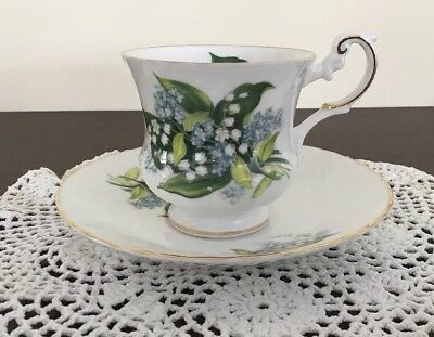 Queen's Rosina China Teacup & Saucer Forget-me-not & Lilly Of The Valley Flowers