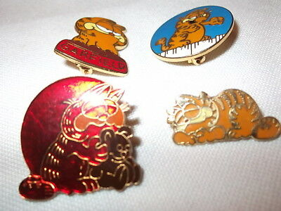 Vtg Garfield Pins Enamel Cat United Features Syndicate Kats Meow 4Pcs