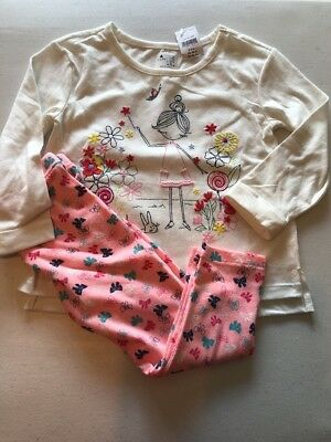 New Baby Gap Girl's 2T Outfit Leggings L/S Shirt pink cream Print Embellished