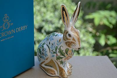 "Royal Crown Derby Paperweight ""WINTER HARE""  NEW  1st Quality & Original Box"