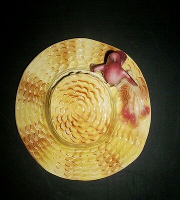Vintage Straw Hat and Red Bird Wall Pocket Stewart B McCulloch