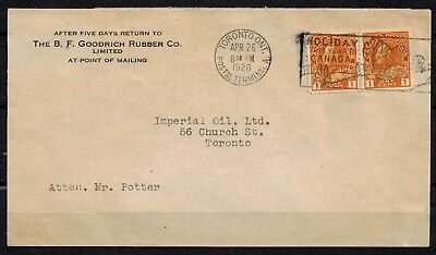 Canada #105 Pair - Mail Posted 1926 Goodrich Rubber Imperial Oil Mr. Potter